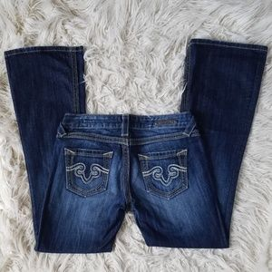 Express Jeans - ReRock For Express Thick Stitch Bootcut Jeans EUC